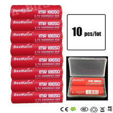 10pcs/lot  IMR 18650 battery 3000mAh 40A 3.7v Rechargeable flat Top Batteries electronic cigarette battery