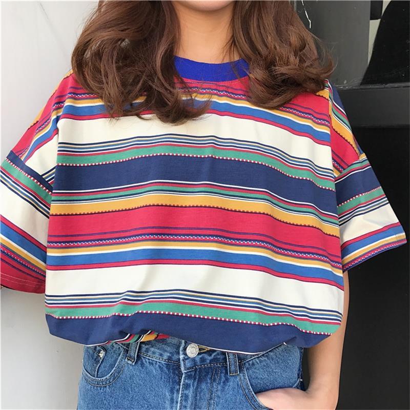 Frauen T-shirts Japan Harajuku Spleißen Patchwork Gestreiften Hemd Sommer Studenten Casual Weibliche Koreanische Kawaii Tops Für Frauen