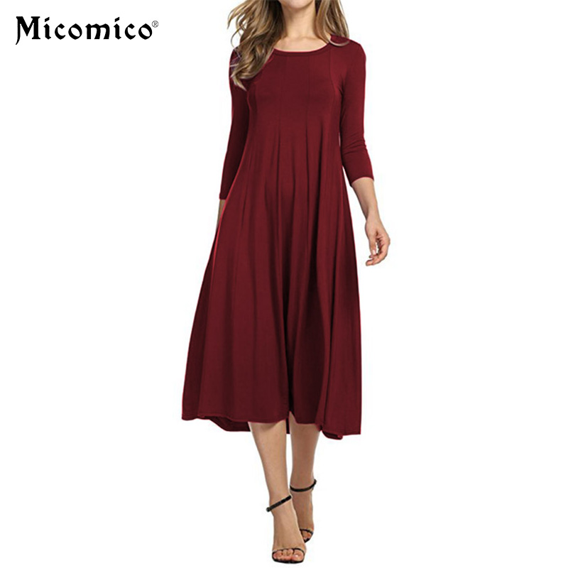 Winter Solid Bodycon Dresses Women Elegant Round Neck Three Quarter Length Sleeve Casual Shift Pleated Dress