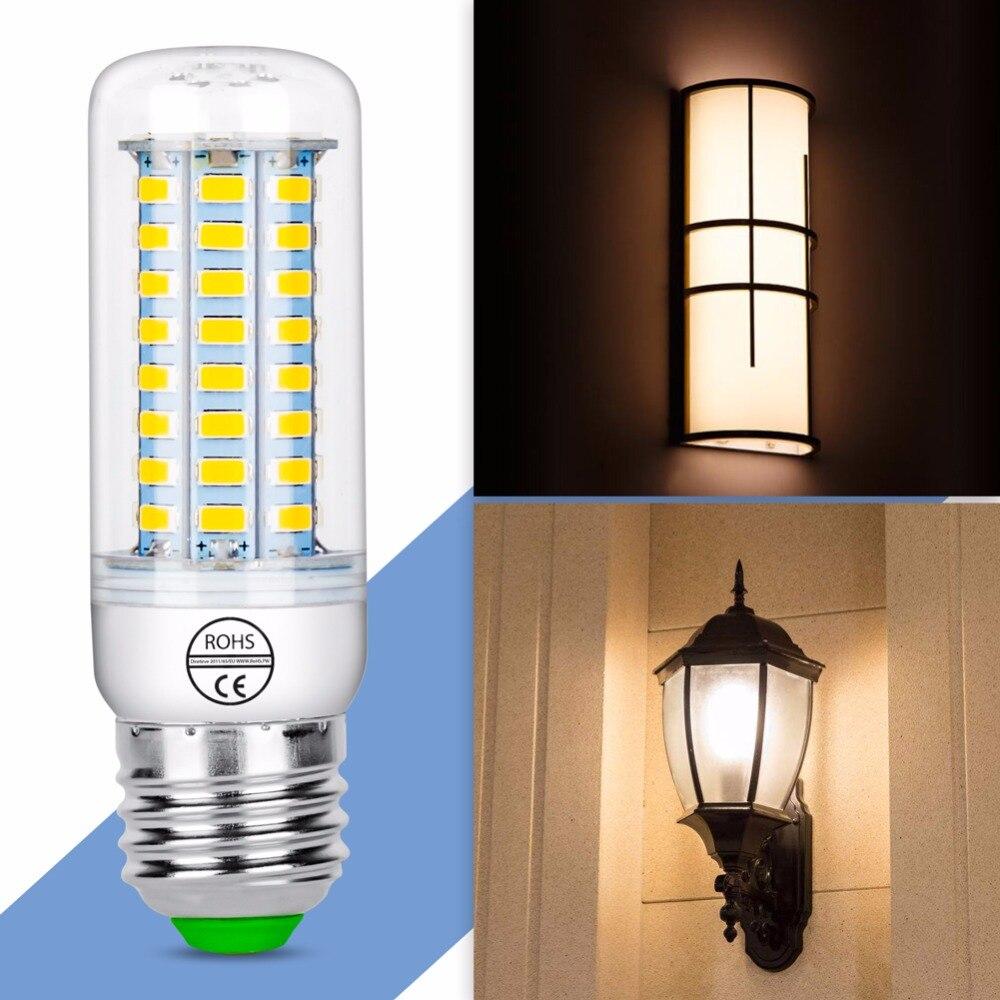 Купить с кэшбэком 10PCS/Pack LED E27 AC220V Bombillas 5730 Lamp E14 Led Bulb Corn Bulb 24 36 48 56 69 72LEDs Chandelier Candle Light Home Lighting