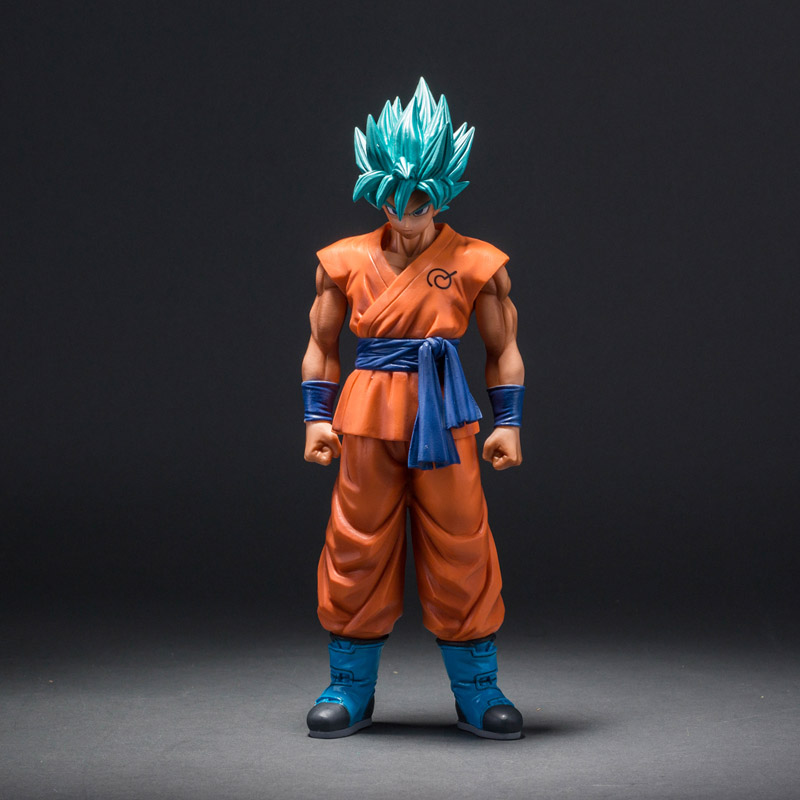 MSP Dragon Ball Z Super Saiyan God Son Goku Action Figure Blue Hair Goku 25CM DragonBall PVC Collection Model Toy Doll 36cm anime cartoon dragon ball z super saiyan 4 son goku pvc action figure collection model toy gb082