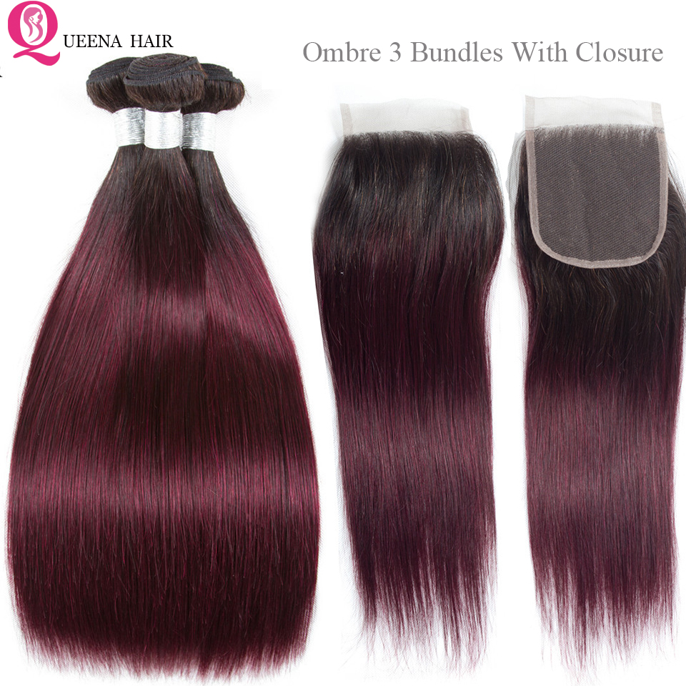 Ombre Human Hair Bundles With 4x4 Closure T1B/99J Dark Wine Red Brazilian Straight Hair Extensions Ombre Bundles With Closure