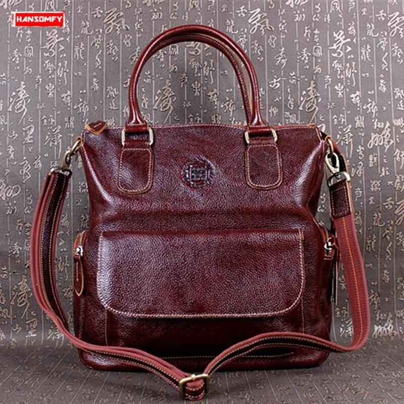 First layer leather Women handbags retro genuine leather crossbody bag female portable Messenger bags 14 inch
