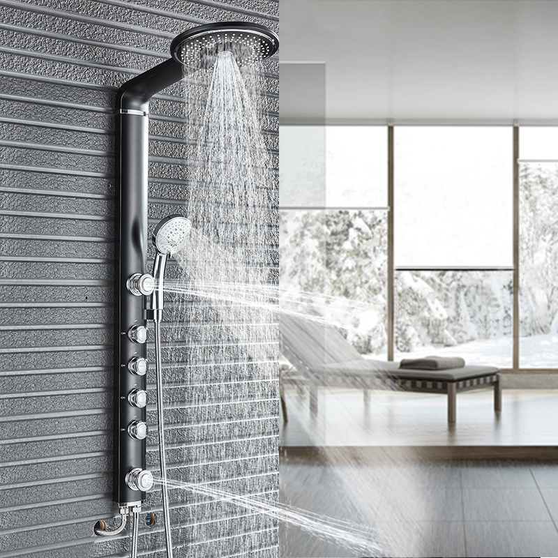 Black White Bathroom Shower Set Rain Shower Head Bathroom Shower Faucet Column with Handles Shower System