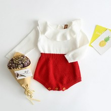 Knitting Body for Newborns Spring Autumn Doll Collar Baby Girl Bodysuits Contrast Color Girls Clothes Newborn Outfit