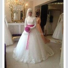 Oumeiya OW165 With Hijab Veil Soft Tulle High Neck Long Sleeve Wedding Dress for Muslim Women 2015