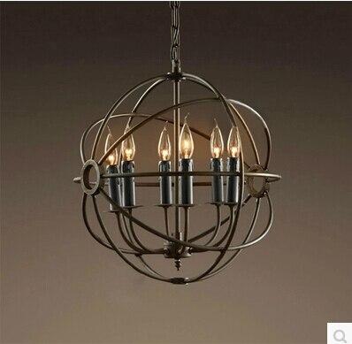 Livraison gratuite CY02 RH Loft Vintage lustre en orbe de fer à repasser lustre en fer rustique