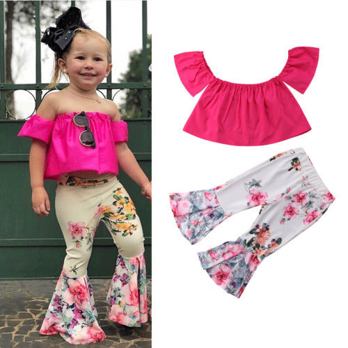 fcf74b3a35fb3c 2-7Y Pretty Kids Baby Girl Outfit Off Shoulder Solid Color Tank Top Long Floral  Bell-Bottom Pants 2Pcs Summer Clothes Trendy Set