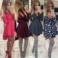 Women Checked Stars Printed Irregular Hem Deep V-Neck Long Sleeve Shirt Dress