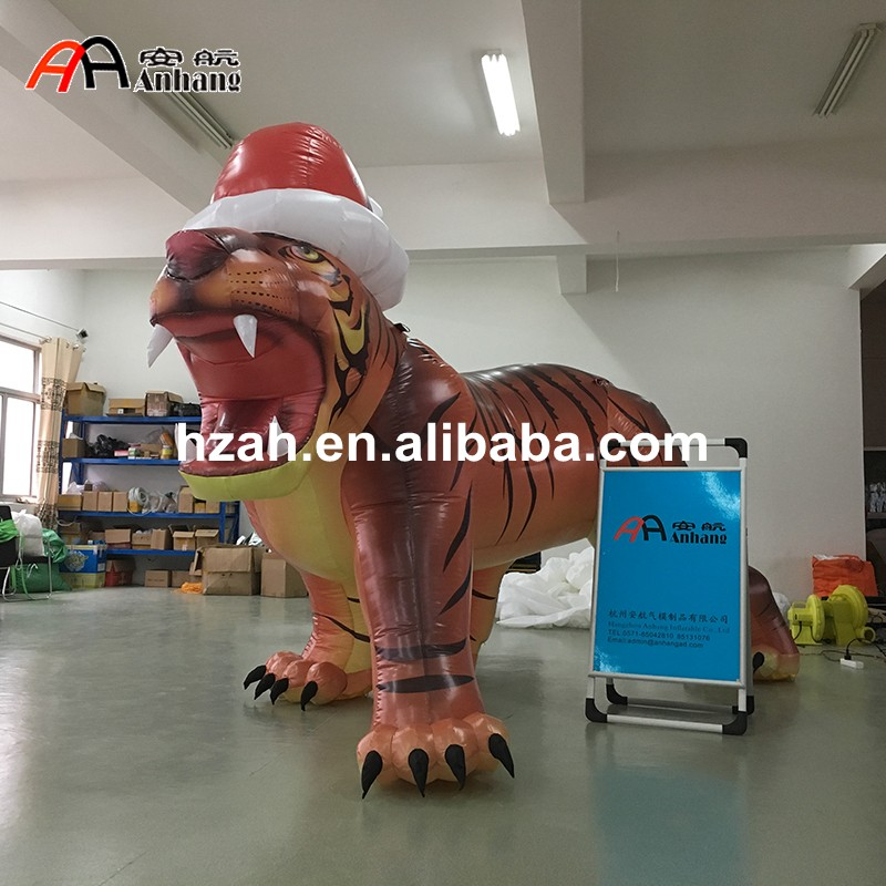 Inflatable Tiger With Christmas Hat For Xmas Decorations