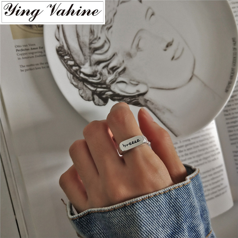 Ying Vahine Prata 925 Anéis para As Mulheres Anel de Noivado Jóias Carta BRISA Aberto anel anel anillos plata 925 para mujer bague