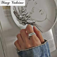ying Vahine Silver 925 Jewelry Letter BREEZE Open Rings for Women Engagement Ring anel anillos plata 925 para mujer anel bague