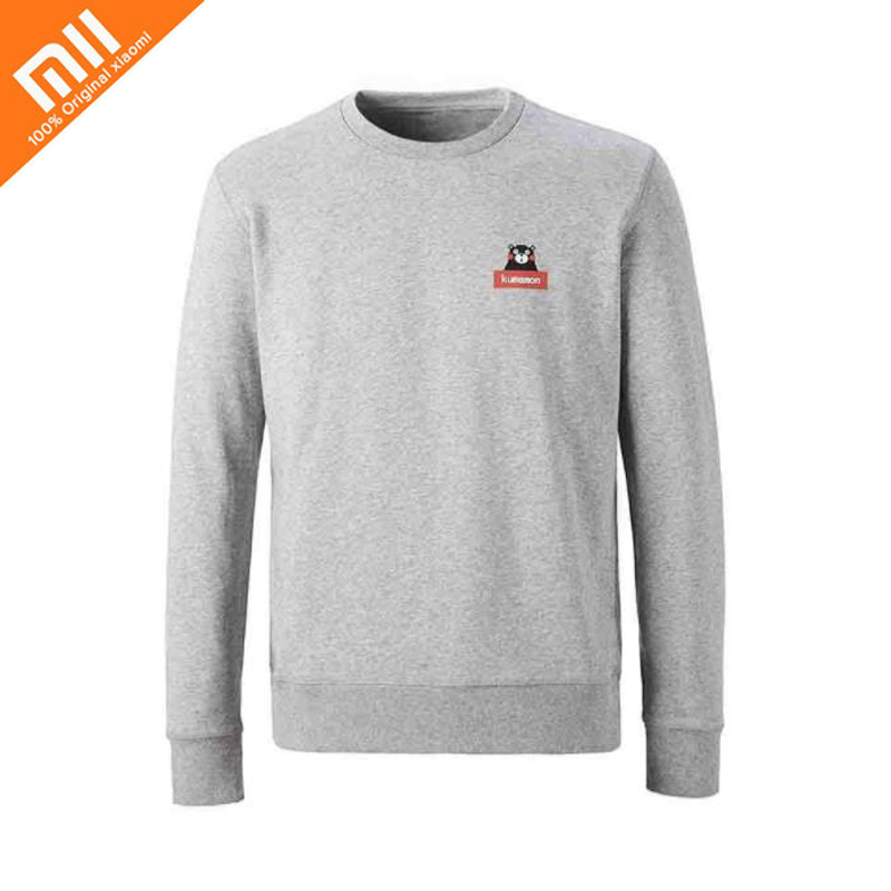 Original xiaomi mijia bear round neck pullover sweater 100% cotton men and women with the same sweater comfort warm beige round neck love patchwork sweater