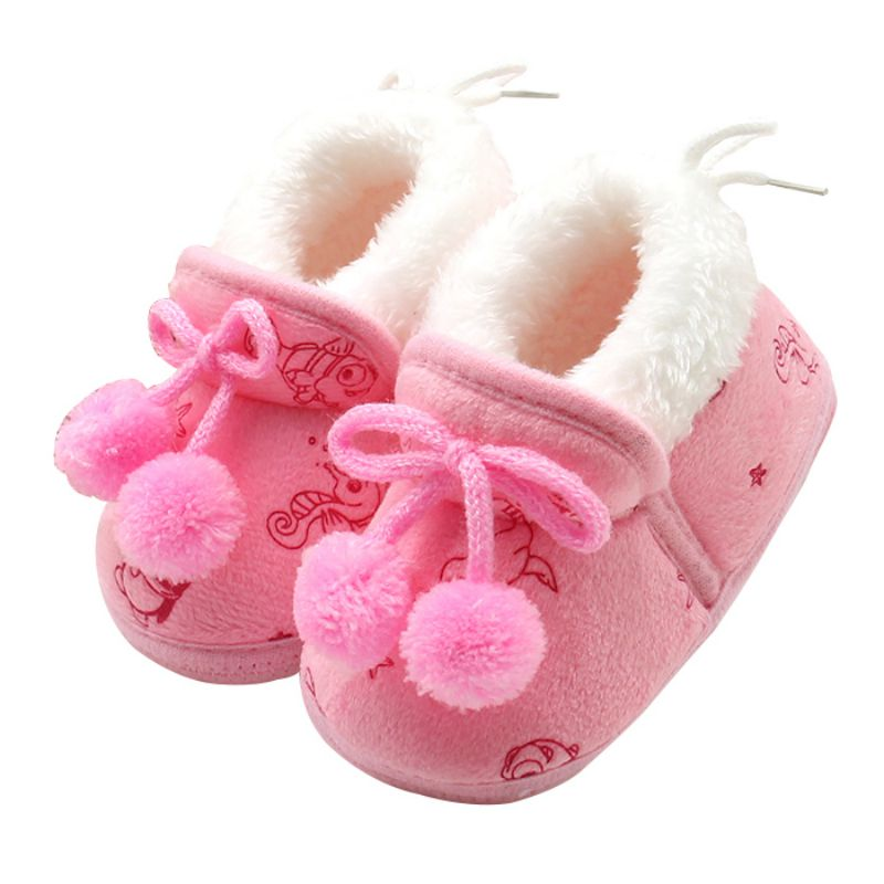 3Colors Sweet Newborn Baby Girls Princess Bowknot Winter Warm First Walkers Soft Soled Infant Toddler Kids Girl Cack Shoes