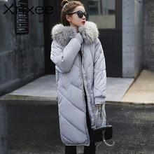New Women Winter Long Coat Big Fur Collar Fashion Female Duck Parkas Jacket Thick Warm Elegant Coat Slim Wadded Jacket