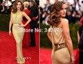 Kate Beckinsale ph15755 helter fora hsoulder sereia ouro vestido de noite 2015 Met Gala celebrity dress 2015