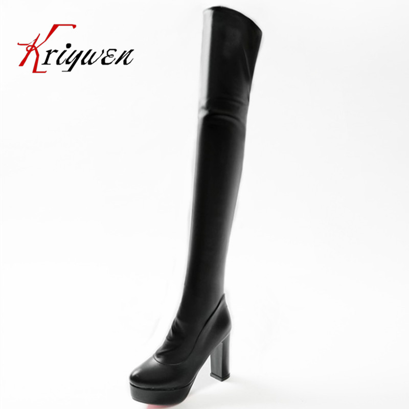 Large size 31-47 Plus 2016winter new arrival high quality platforms thick high heels long boots shoes over the knee boots
