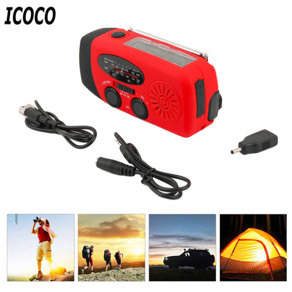 ICOCO 3 in 1 Emergency Charger Flashlight Hand Crank Generator Wind up Solar Dynamo Powered FM/AM Radio Charger LED Flashlight solar powered 3 led white flashlight keychain silver