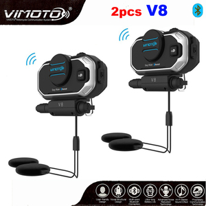 English Version 2set Vimoto V8 Helmet Bluetooth Intercom Motorbike Stereo Headset Headphones For Mobile Phone GPS 2 Way Radios(China)