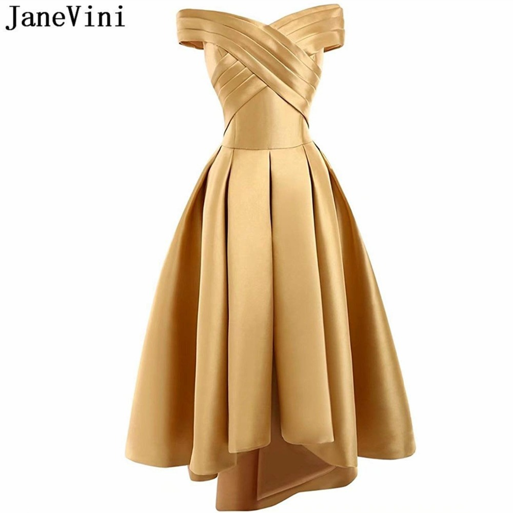 JaneVini 2018 Simple Gold Satin Long   Bridesmaid     Dresses   off the Shoulder High Low Formal Prom Gowns Lace-up Back Ankle Length