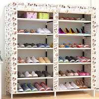 Modern Fashion Double Rows Multi layers Non woven Cloth Shoes Cabinet Shoes Rack Storage Shoes Organizer Shelves Home Furniture