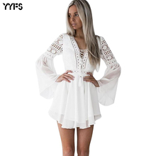 YYFS 2019 Hollow Out Lace Chiffon Dresses Sexy Women Mini Dress Criss Cross Bandage Semi-sheer Plunge V-Neck Long Sleeve
