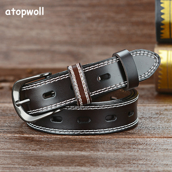 New Arrival 2019 Hollow Cowskin Genuine leather belts for women Pin buckle Second layer cowskin strap Waistband high quality