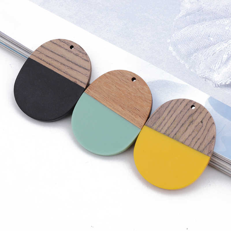 2pcs Splice Big Oval Wood Resin Eardrop Charms Connector Findings Vintage Earrings Necklace Pendant Women Jewelry Accessory