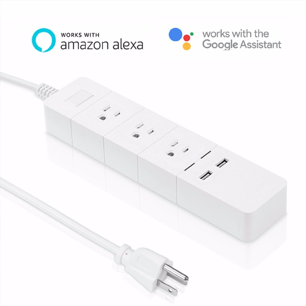 Meross 2 USB Ports + 3 US Plug Smart Outlets WiFi Remote Control Smart Power Socket Works with Amazon Alexa & Google Assistant wi fi enabled mini outlets smart socket control your electric devicsmart us plug wifi smart wireless socket m 16