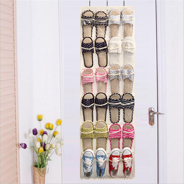 Clear Collection 24 Pocket Over The Door Shoe Organizer Storage Hanging Bag  24grid Non