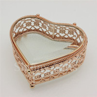 Handmade Fashion New Design Heart Shape Flower Glass Storage Box For Jewelries