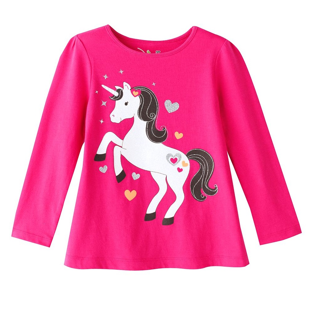 Pink Horse Pony 2016 Girls T-Shirts 100% Cotton Girls Clothes Outerwear Children Tees Shirts Tops