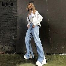 Auyiufar Zipper Woman's Jeans Streetwear Wide Leg P