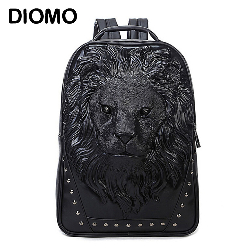 DIOMO Fashion Women s Backpack Cool Lion Backpack PU Leather School Backpacks For Teenage Girls School