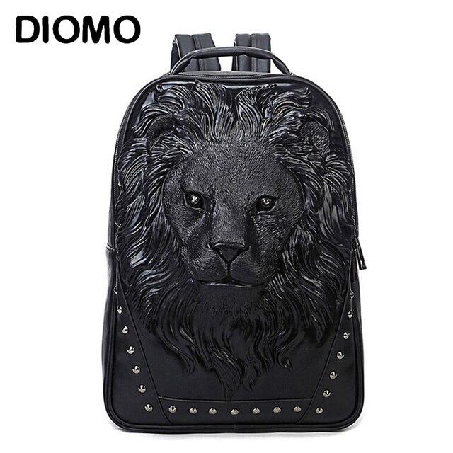 DIOMO Fashion Women's Backpack Cool Lion Backpack PU Leather School Backpacks For Teenage Girls School Bag mochila escolar