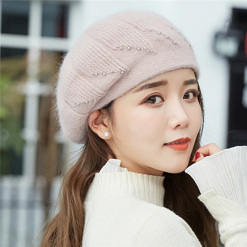 e5c855d19b9b0 Ymsaid Winter Hats For Women Elegant Knitted Hat Fashion Rabbit Hair Berets  Women s Autumn Hat Touca Inverno Feminina Warm Cap-in Berets from Apparel  ...