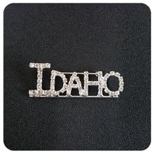 Idaho State Rhinestone Word Brooch Pin