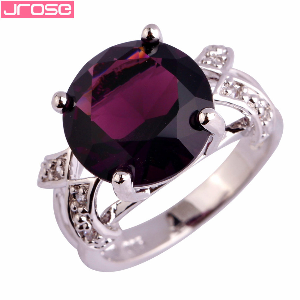 JROSE Wholesale Purple & White CZ Silver Color Ring For Women Size 6 7 8 9 10 11 12 13 Engagement Fancy Jewelry Women Gift