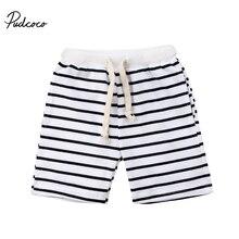 Pudcoco/Лидер продаж; детские штаны для маленьких мальчиков; Летние повседневные пляжные шорты в полоску; Helen115