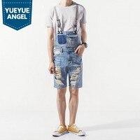 Denim Mens Shorts 2019 Korean Fashion Male Overalls Hole Ripped Biker Casual Man Suspenders Streetwear Knee Length Jumpsuits Men