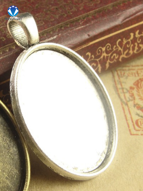 10pcs/lot Antique Bronze/Antique Silver Metal Copper 18*25mm Oval Cabochon Settings Jewelry Tray Pendant Bezel Blanks