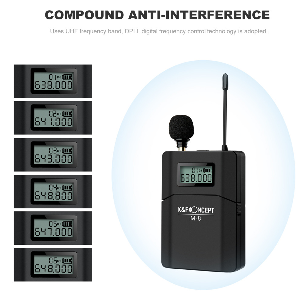 K&F CONCEPT DSLR Camera Microphone 70M Remote Video Wireless Lavalier Microfone Low Noise MIC Receiver+ Transmitter for Cameras