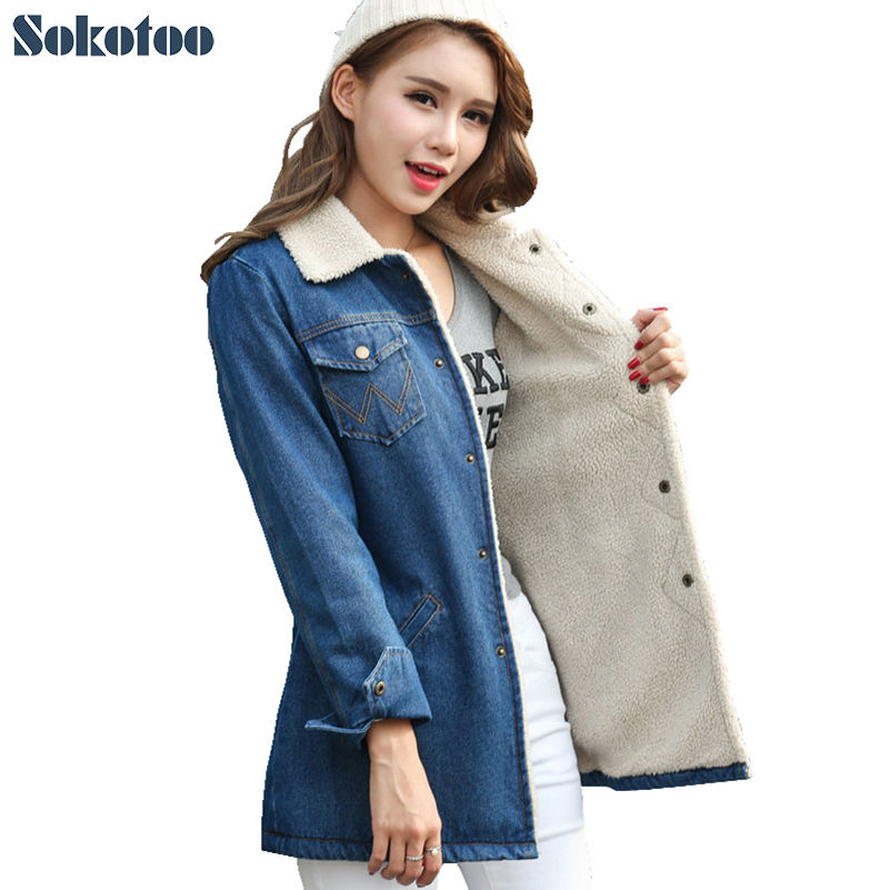 ФОТО Sokotoo Women's winter warm down jacket Lady's thicken fashion denim coat Female casual polo collar outerwear Free shipping
