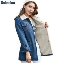 Sokotoo Women s winter warm down jacket Lady s thicken fashion denim coat Female casual polo
