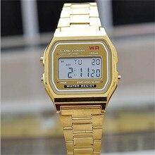 Цифровые военные часы модные золотые серебряные квадратные мужские винтажные электронные часы Ретро стиль пара часов