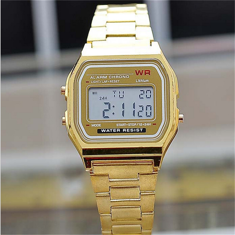 Digital Military Watches Fashion Gold Silver Square Men Vintage  Electronic  Display Retro Style Couple  Clock