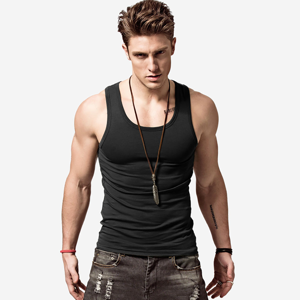 AudWhale Men's   Tank     Top   Summer Sleeveless   Tops   For Men Cotton Solid Men   Tanks   O-Neck Tough Guy Solid Man   Tank     Top   Cotton