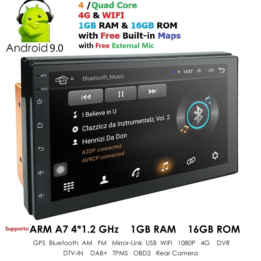 4G 2din android 9.0 autoradio Bluetooth lecteur multimédia unique din universel GPS Navigation 1024*600 swc dab tpms dvr carte