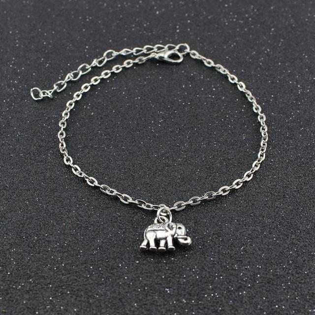 f0550e3b7368 1 unids de tobillos pulsera elefante afortunado elegante plateado plata  cadena pie joyería tobillera encanto