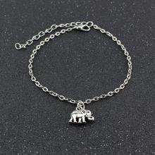 1Pcs Women's Ankles Bracelet Lucky Elephant Chic Silver Plated Chain Foot Jewelry Charm Anklet chic faux zircon hollow out palm foot bracelet
